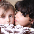 Baby and cake — Stock Photo