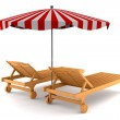 Two beach chairs and umbrella isolated — Stock Photo