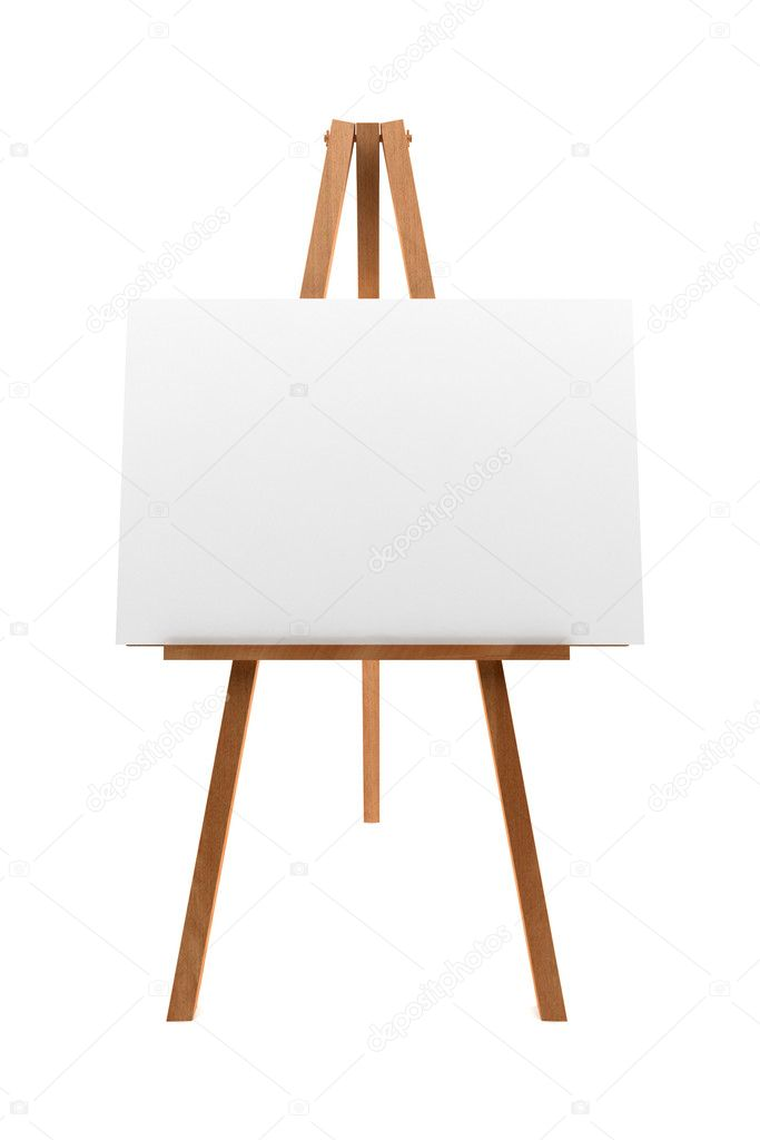 Wooden easel with blank canvas isolated on white background  Stock Photo #1755790