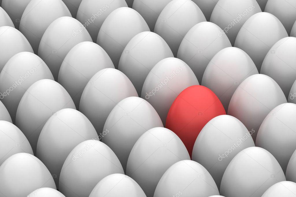 Red easter egg among similar white eggs — Stock Photo © tiler84 ...