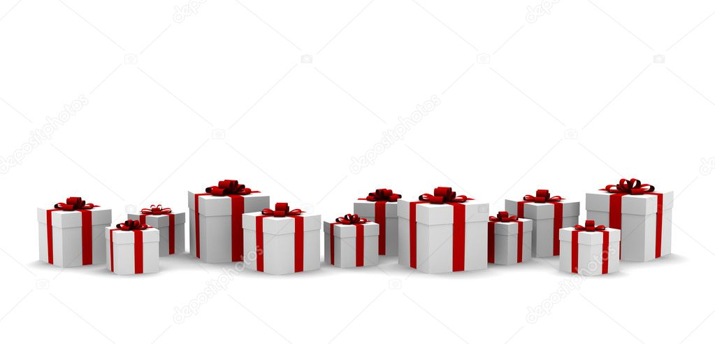 White gift boxes with red ribbon — Stock Photo #1757315