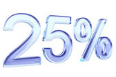 Twenty five percents blue glass sign — Stock Photo