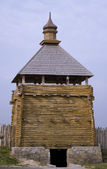Old defensive wooden tower — Stock Photo