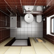 Stock Photo: Modern bathroom with brown tiles