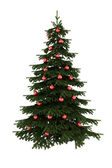 Christmas tree with red balls isolated — Stock Photo