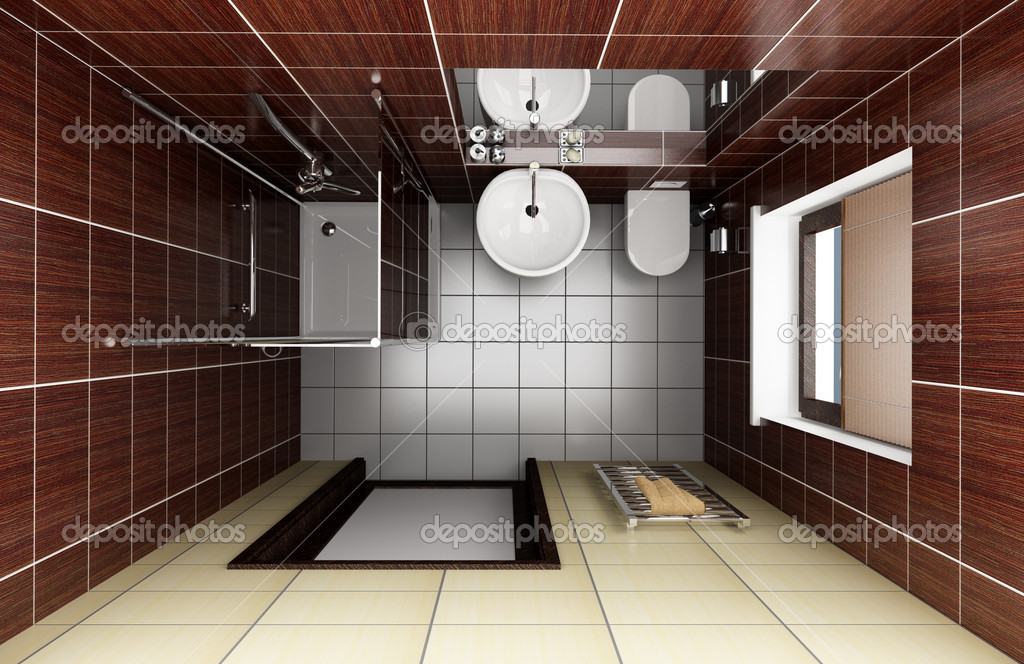 Modern bathroom with brown tiles. top view — Stock Photo #1797893