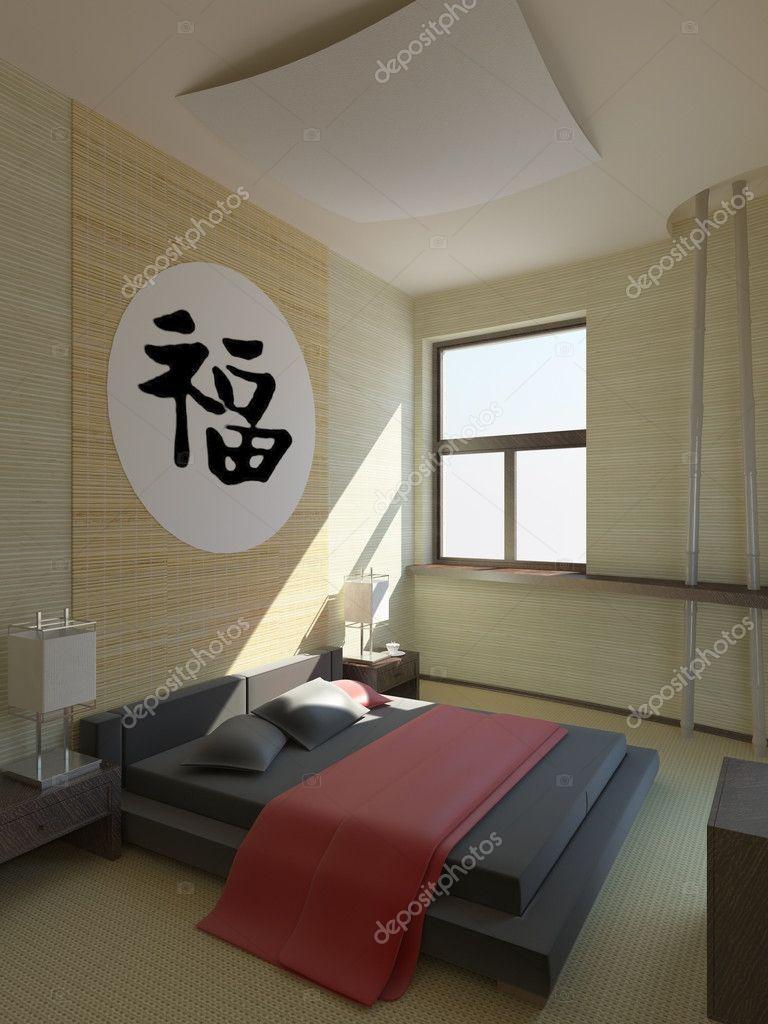 modern hotel bedroom in japanese style stock photo. Black Bedroom Furniture Sets. Home Design Ideas