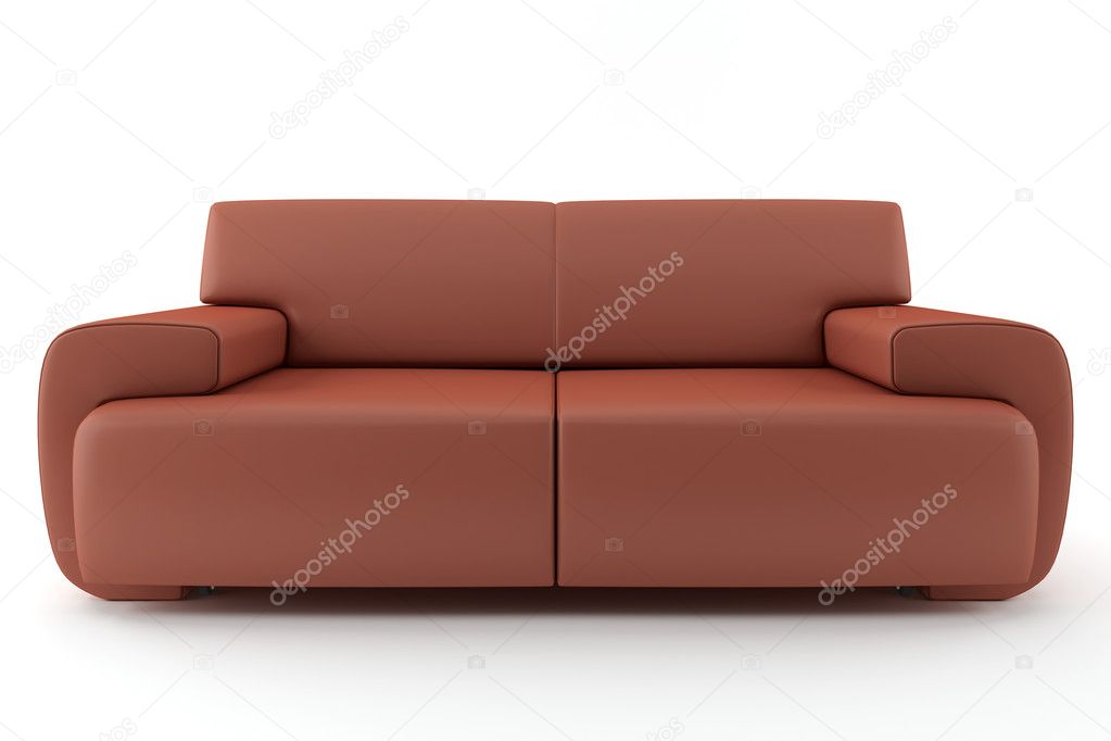 brown leather sofa isolated - photo #3