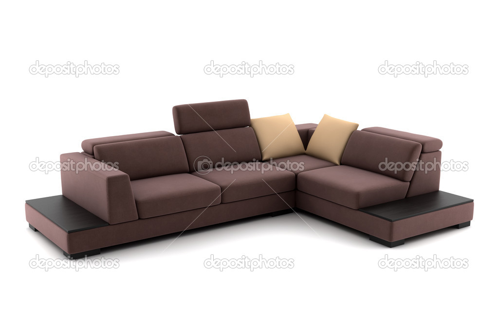 brown leather sofa isolated - photo #5