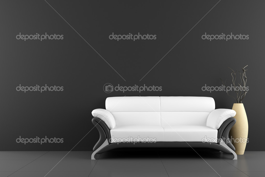 White sofa and vase with dry wood in front of black wall — Lizenzfreies Foto #2280850