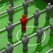 Stock Photo: Foosball table with red player