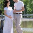 Beautiful pregnant woman and her husband — 图库照片