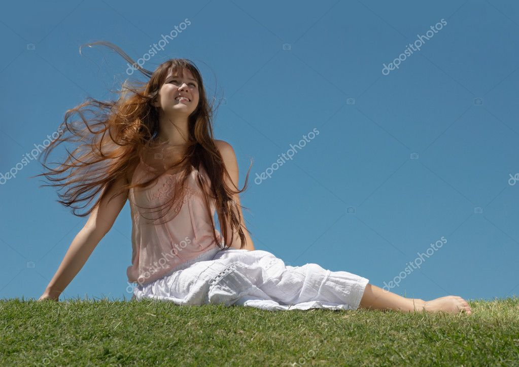 The happy young Girl on Outdoors — Stock Photo #1780719
