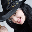 Portrait of a cute witch with hat — Stock Photo