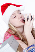 Santa Clause With New Year's gifts — Stock Photo