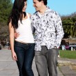 Happy young couple walking at park — Stock Photo #1950171