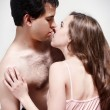 Intimate young couple during foreplay — Stock Photo