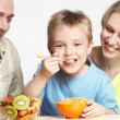 The happy family has breakfast — Stock Photo