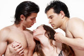 Sexual a prelude three together — Stock Photo