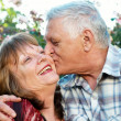 Kissing happy elderly couple in love outdoor — Stock Photo