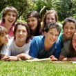 Stock Photo: Group of college students outdoors