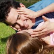 Happy young couple in park — Stock Photo #2330454