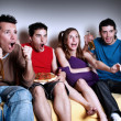The emotional fans watching TV — Stock Photo