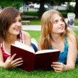 Beautiful teenagers enjoying in park - Stock Photo