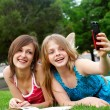 Two girlfriends in park — Stock Photo #2330757