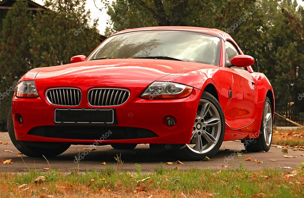Red  BMW sports car in autumn park  Stock Photo #1849543