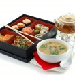 Sushi with tea and soup — Stock Photo