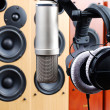 Headphones and microphone - Stock Photo