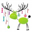 Stock Vector: Christmas reindeer with gift for you