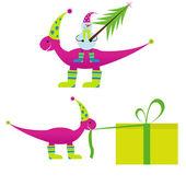 Kerstmis dinosaur met sneeuwpop en gift — Stockvector