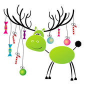 Christmas reindeer with gift for you — Stock Vector
