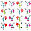 Stock Vector: Christmas reindeer with gifts