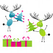 Two Christmas reindeer with gifts — Vector de stock