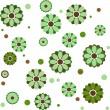 Background with different green flowers — Stock Vector