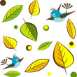 Background with leaf with bird. — Stock Vector