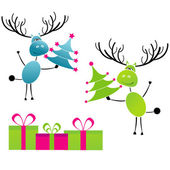 Two Christmas reindeer with gifts — Vetor de Stock