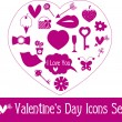 Valentine's Day Icon Set. — Stock Vector