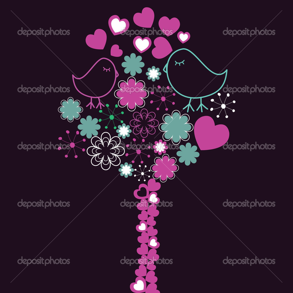 Background with pink tree and birds . Vector illustration  Stock Vector #2636029