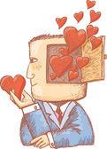 Hjärtan i mitt sinne — Stockvektor