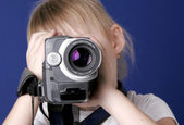 Girl shoot home video — Stock Photo