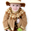 Little girl in brown hat — Stock Photo