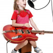 Girl in audio studio — Stock Photo