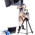 Hd camcorder on crane — Stock Photo