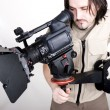 Hd camcorder on crane — Stock Photo