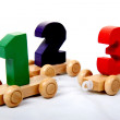 Wooden numbers one two three — Stock Photo