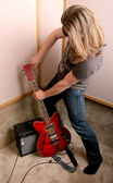 Guitarist in studio — Stock Photo